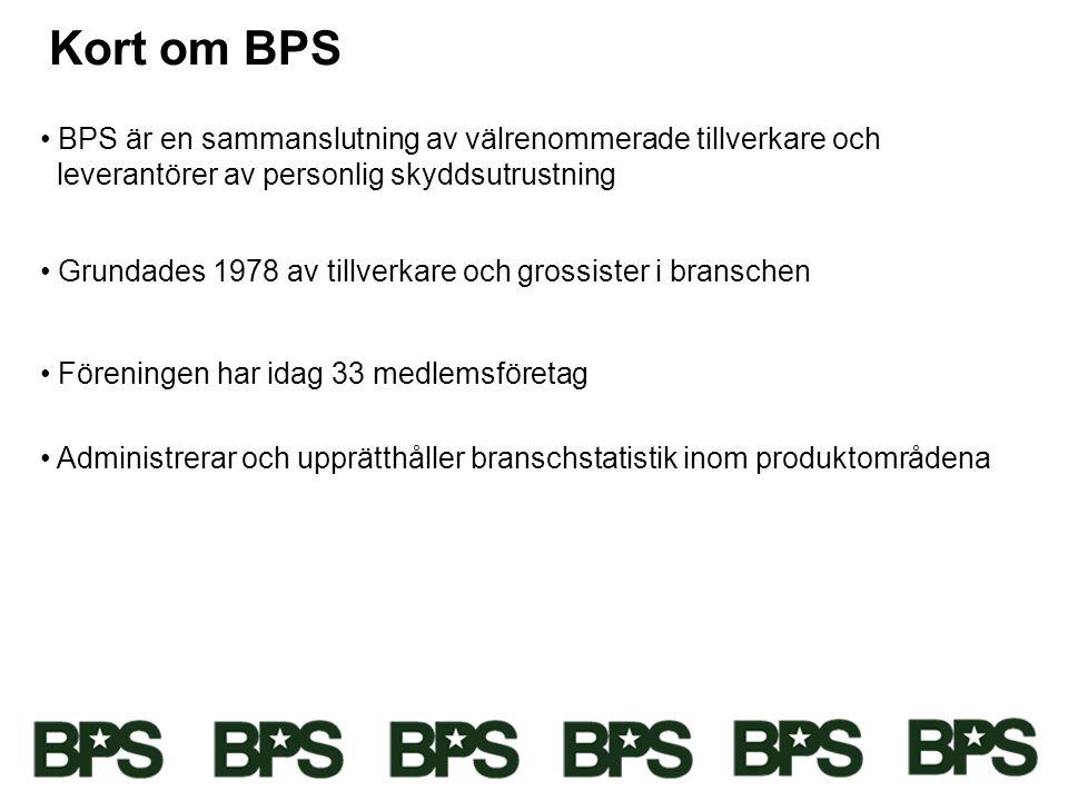 Kort om BPS • BPS är en sammanslutning av välrenommerade tillverkare och leverantörer av personlig skyddsutrustning • Grundades 1978 av tillverkare oc