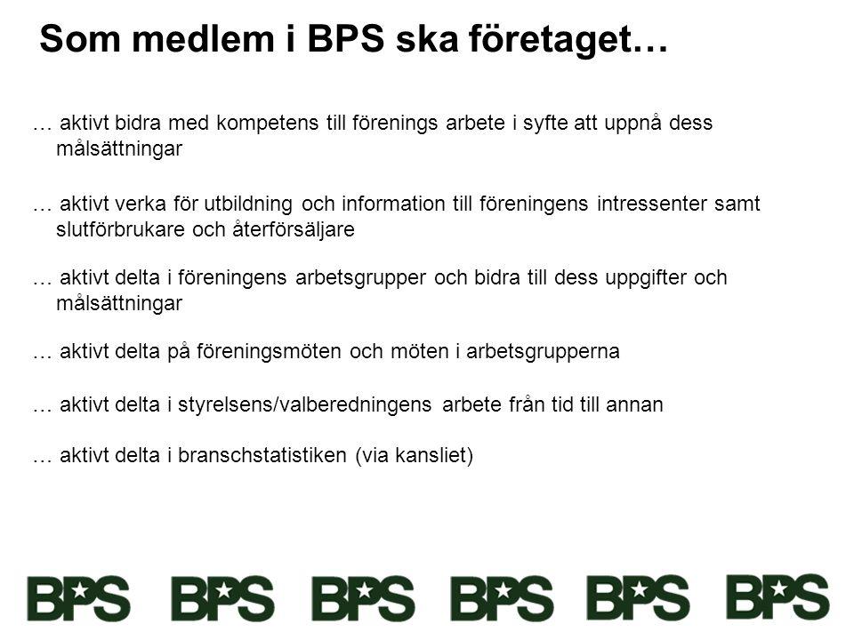 Som medlem i BPS ska företaget… … aktivt bidra med kompetens till förenings arbete i syfte att uppnå dess målsättningar … aktivt verka för utbildning