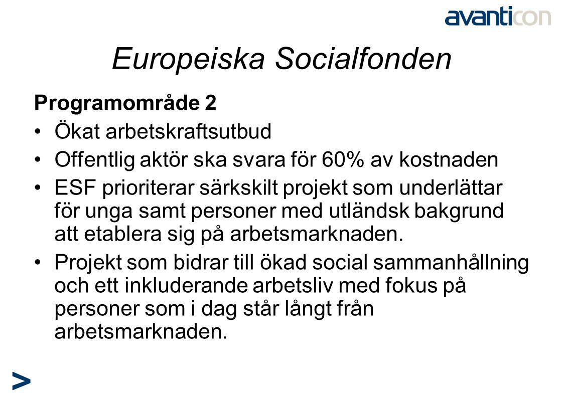 Europeiska Socialfonden Programområde 2 •Ökat arbetskraftsutbud •Offentlig aktör ska svara för 60% av kostnaden •ESF prioriterar särkskilt projekt som