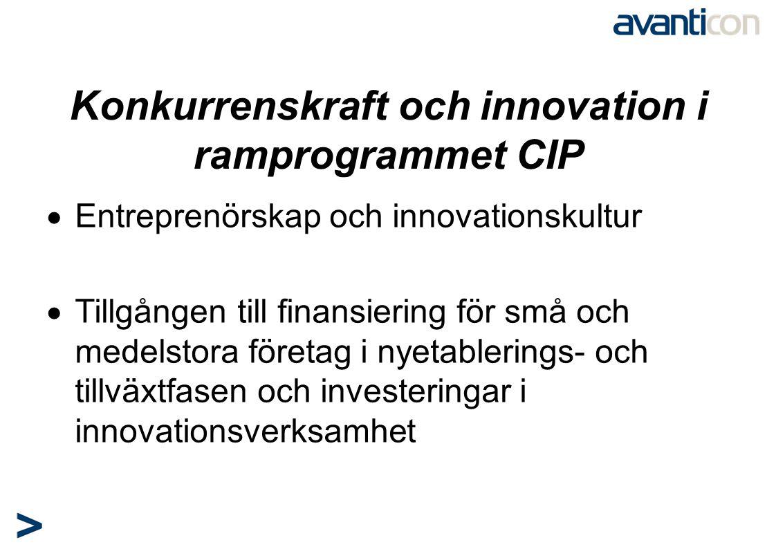 Konkurrenskraft och innovation i ramprogrammet CIP  Entreprenörskap och innovationskultur  Tillgången till finansiering för små och medelstora föret