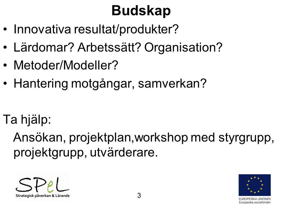 Budskap •Innovativa resultat/produkter? •Lärdomar? Arbetssätt? Organisation? •Metoder/Modeller? •Hantering motgångar, samverkan? Ta hjälp: Ansökan, pr
