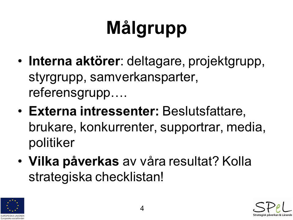 Målgrupp •Interna aktörer: deltagare, projektgrupp, styrgrupp, samverkansparter, referensgrupp…. •Externa intressenter: Beslutsfattare, brukare, konku
