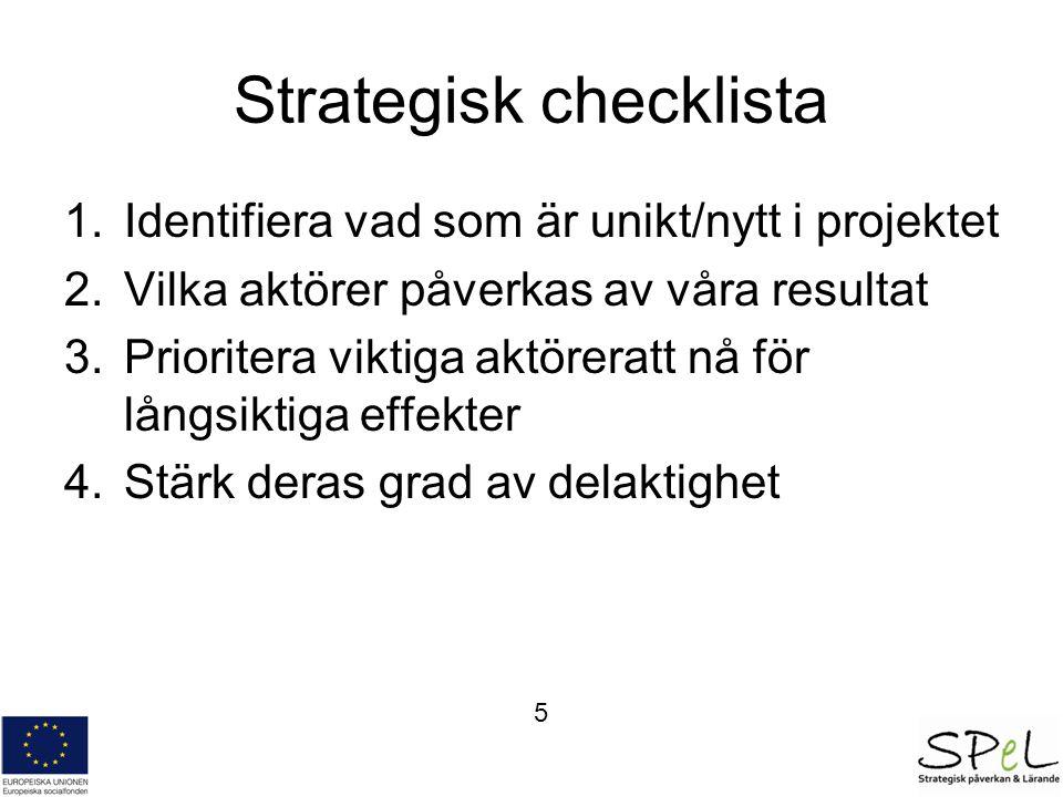 Strategisk checklista 1.Identifiera vad som är unikt/nytt i projektet 2.Vilka aktörer påverkas av våra resultat 3.Prioritera viktiga aktöreratt nå för långsiktiga effekter 4.Stärk deras grad av delaktighet 5