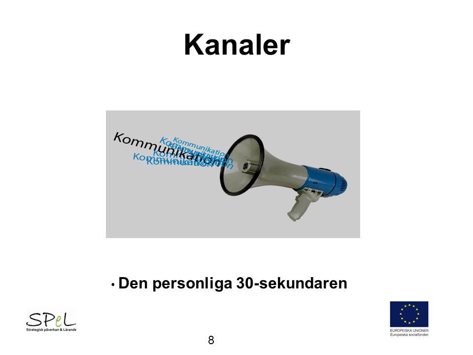 Kanaler - Budbärare •Projektledare •Projektmedarbetare •Styrgrupp/referensgrupp •Deltagare •Taktiskt val: Relevans - genomslag – anpassa t målgrp 9