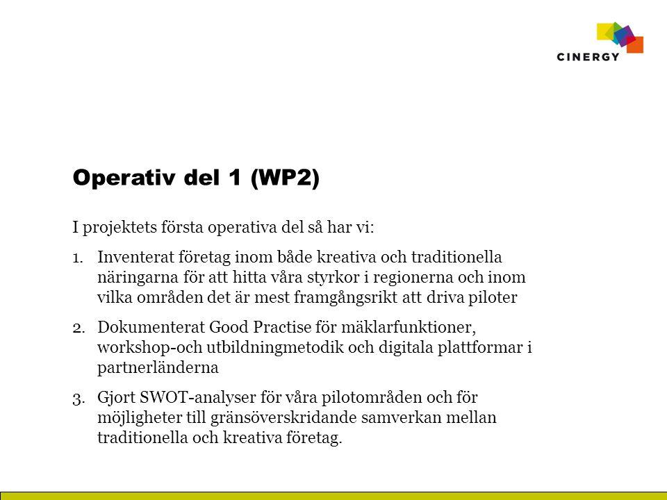 Operativ del 1 (WP2) I projektets första operativa del så har vi: 1.Inventerat företag inom både kreativa och traditionella näringarna för att hitta våra styrkor i regionerna och inom vilka områden det är mest framgångsrikt att driva piloter 2.Dokumenterat Good Practise för mäklarfunktioner, workshop-och utbildningmetodik och digitala plattformar i partnerländerna 3.Gjort SWOT-analyser för våra pilotområden och för möjligheter till gränsöverskridande samverkan mellan traditionella och kreativa företag.