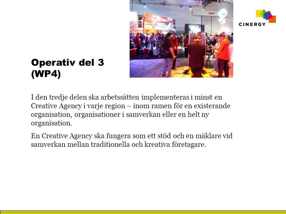 Operativ del 3 (WP4) I den tredje delen ska arbetssätten implementeras i minst en Creative Agency i varje region – inom ramen för en existerande organisation, organisationer i samverkan eller en helt ny organisation.