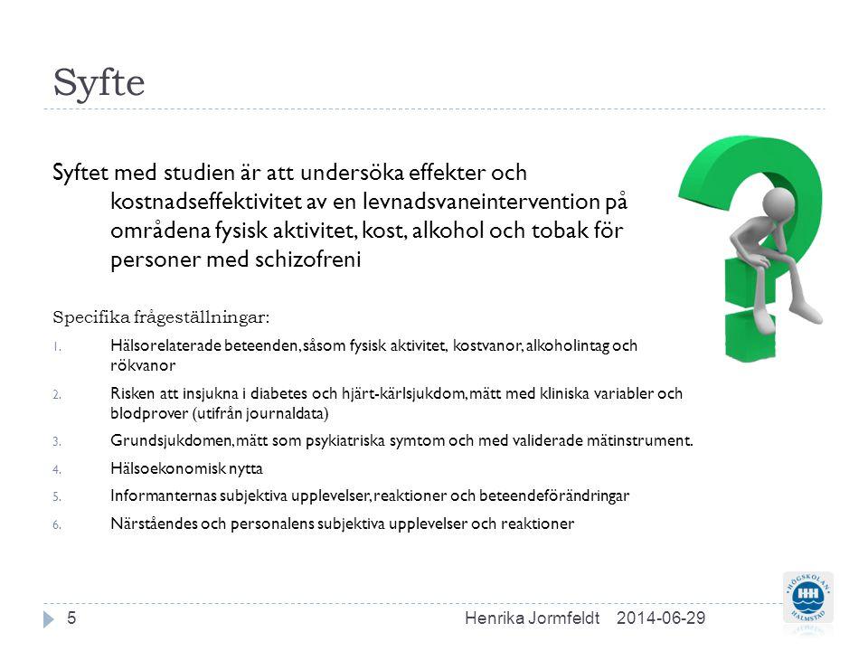 Metod  Studien har en jämförande design med deltagande enheter från Psykiatrin i Halland och Västervik.
