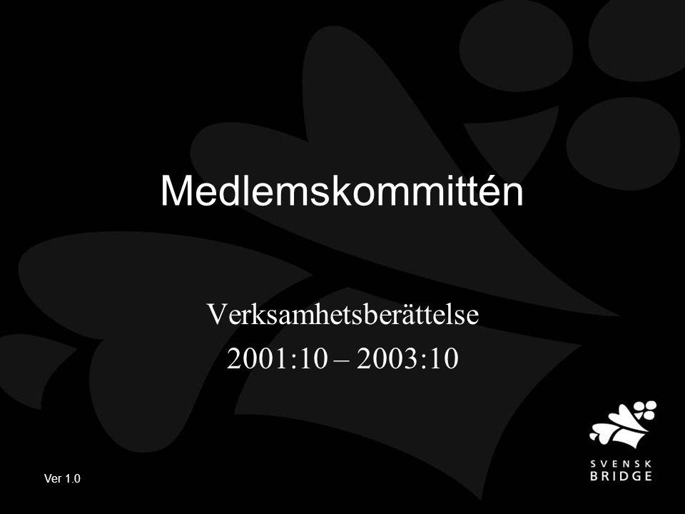 Ver 1.0 Medlemskommittén Verksamhetsberättelse 2001:10 – 2003:10