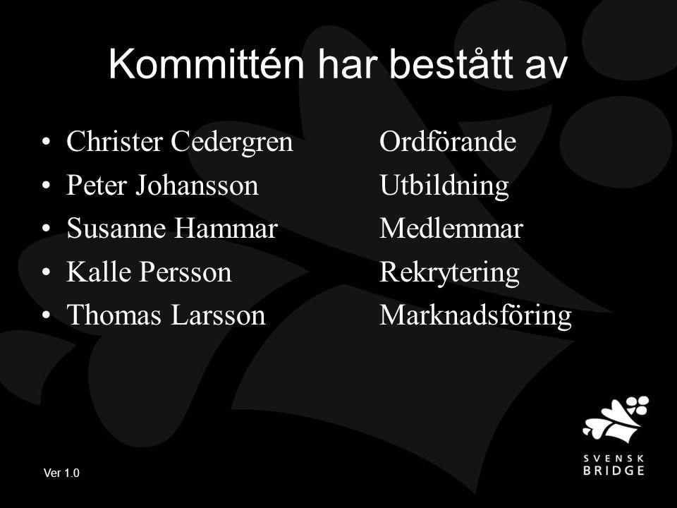 Kommittén har bestått av •Christer CedergrenOrdförande •Peter JohanssonUtbildning •Susanne HammarMedlemmar •Kalle PerssonRekrytering •Thomas LarssonMarknadsföring