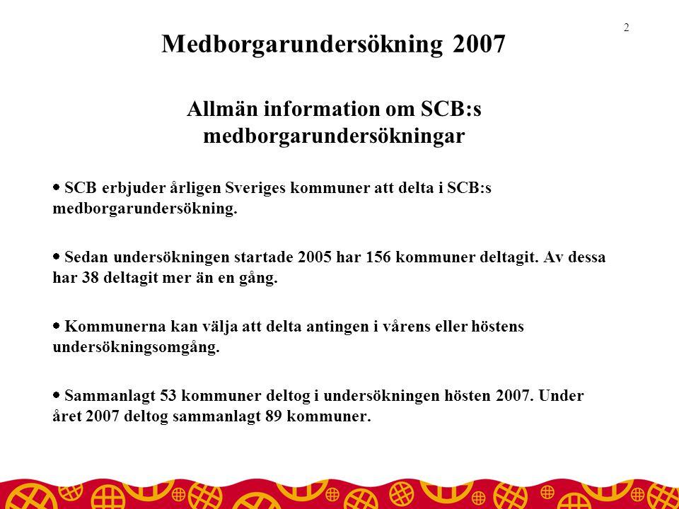Medborgarundersökning 2007 Allmän information om SCB:s medborgarundersökningar  SCB erbjuder årligen Sveriges kommuner att delta i SCB:s medborgarundersökning.