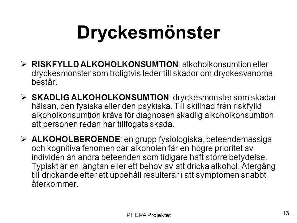 PHEPA Projektet 13 Dryckesmönster  RISKFYLLD ALKOHOLKONSUMTION: alkoholkonsumtion eller dryckesmönster som troligtvis leder till skador om dryckesvan