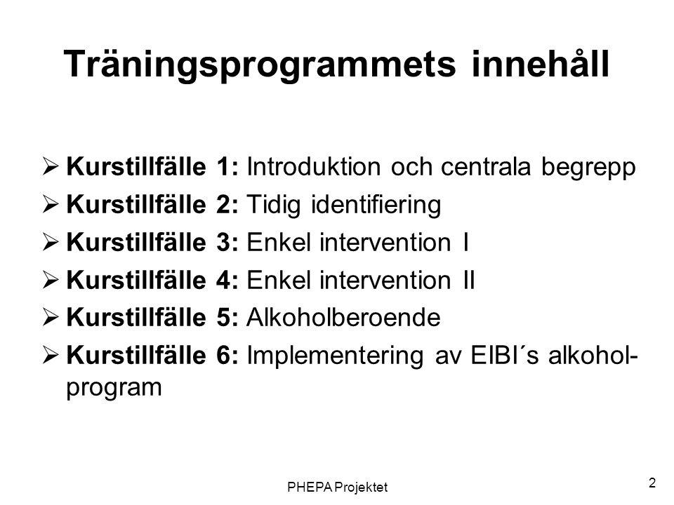 2 Träningsprogrammets innehåll  Kurstillfälle 1: Introduktion och centrala begrepp  Kurstillfälle 2: Tidig identifiering  Kurstillfälle 3: Enkel in
