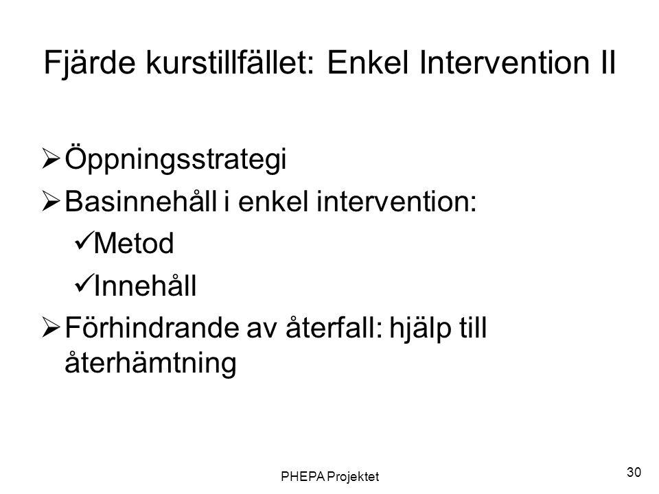 PHEPA Projektet 30 Fjärde kurstillfället: Enkel Intervention II  Öppningsstrategi  Basinnehåll i enkel intervention:  Metod  Innehåll  Förhindran