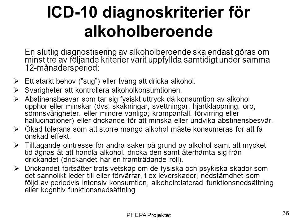 PHEPA Projektet 36 ICD-10 diagnoskriterier för alkoholberoende En slutlig diagnostisering av alkoholberoende ska endast göras om minst tre av följande