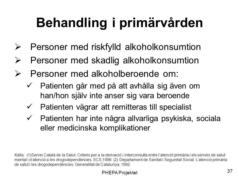 PHEPA Projektet 37 Behandling i primärvården  Personer med riskfylld alkoholkonsumtion  Personer med skadlig alkoholkonsumtion  Personer med alkoho