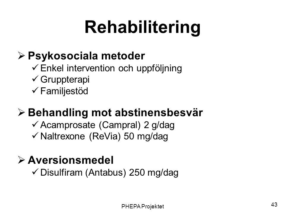 PHEPA Projektet 43 Rehabilitering  Psykosociala metoder  Enkel intervention och uppföljning  Gruppterapi  Familjestöd  Behandling mot abstinensbe