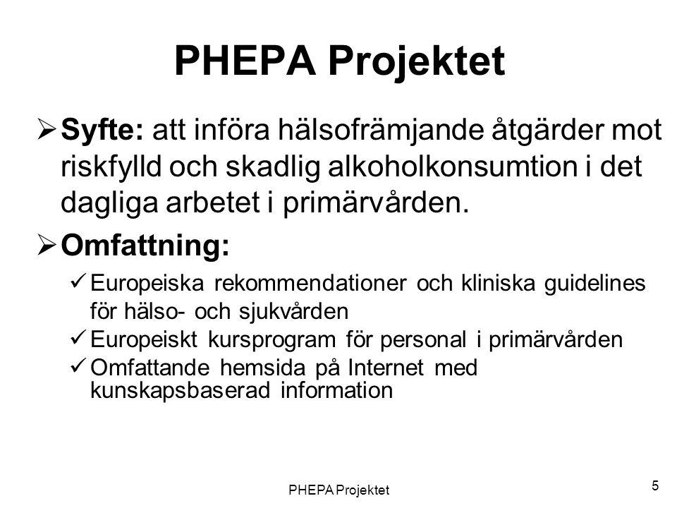 PHEPA Projektet 5  Syfte: att införa hälsofrämjande åtgärder mot riskfylld och skadlig alkoholkonsumtion i det dagliga arbetet i primärvården.  Omfa