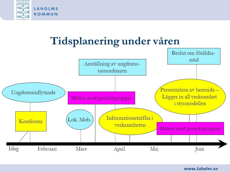 www.laholm.se Tidsplanering under våren Idag FebruariMarsAprilMajJuni Konferens Möten med projektgrupper Informationsträffar i verksamheten Beslut om