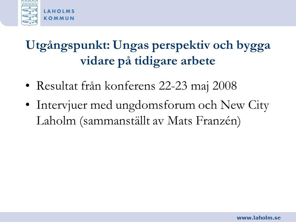 www.laholm.se Utgångspunkt: Ungas perspektiv och bygga vidare på tidigare arbete •Resultat från konferens 22-23 maj 2008 •Intervjuer med ungdomsforum
