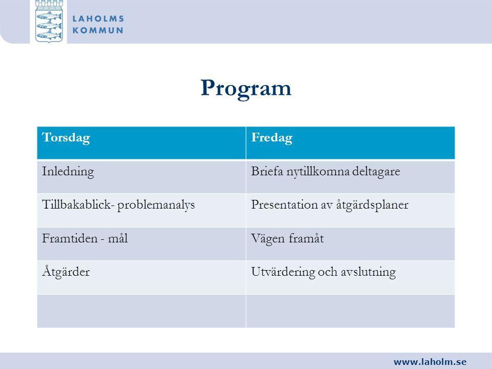 www.laholm.se Program TorsdagFredag InledningBriefa nytillkomna deltagare Tillbakablick- problemanalysPresentation av åtgärdsplaner Framtiden - målVäg