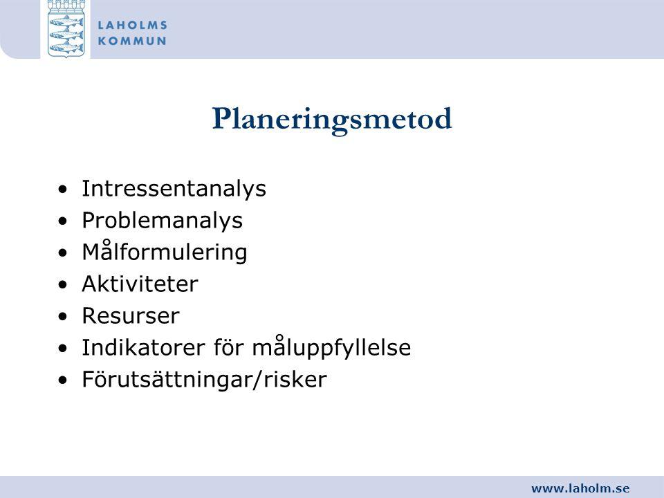 www.laholm.se Planeringsmetod •Intressentanalys •Problemanalys •Målformulering •Aktiviteter •Resurser •Indikatorer för måluppfyllelse •Förutsättningar