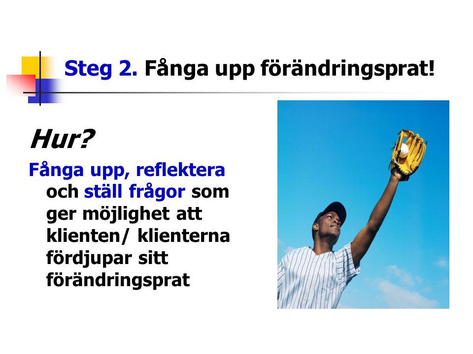 Steg 2. Fånga upp förändringsprat! Hur? Fånga upp, reflektera och ställ frågor som ger möjlighet att klienten/ klienterna fördjupar sitt förändringspr