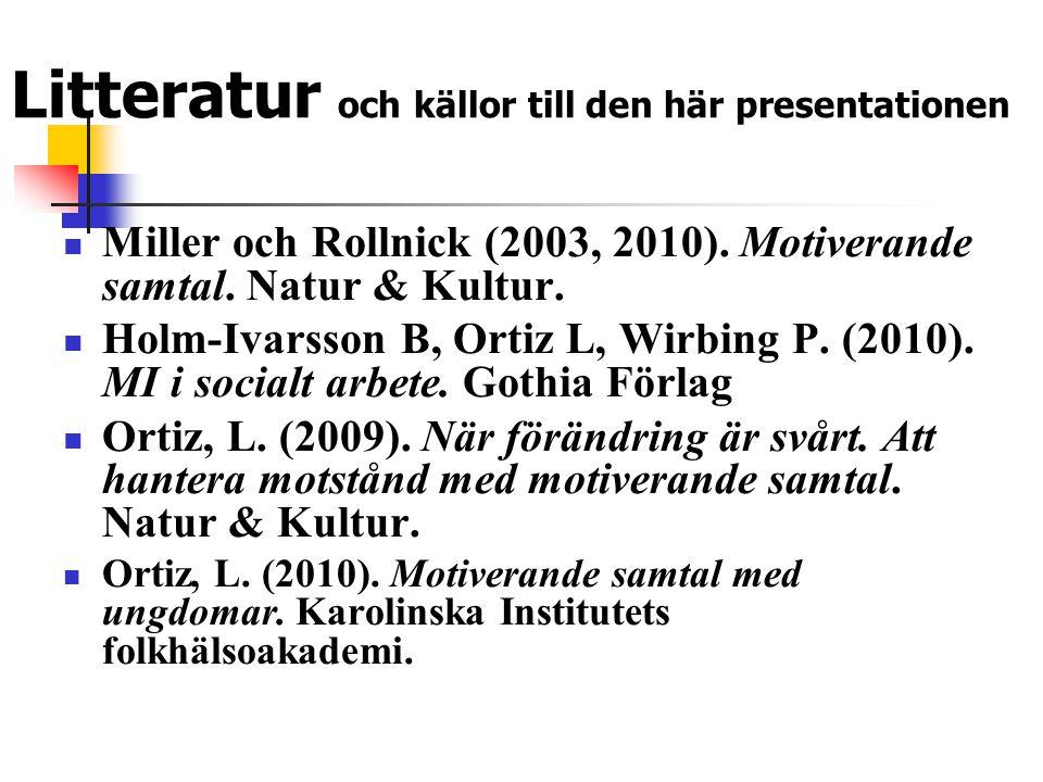 Litteratur och källor till den här presentationen  Miller och Rollnick (2003, 2010). Motiverande samtal. Natur & Kultur.  Holm-Ivarsson B, Ortiz L,