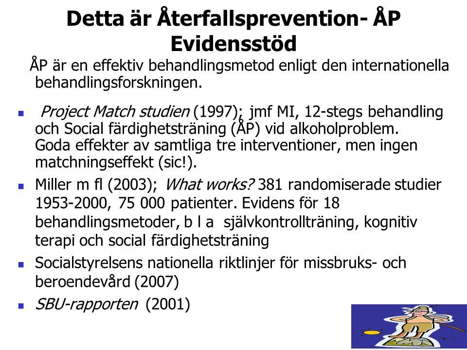Detta är Återfallsprevention- ÅP Evidensstöd ÅP är en effektiv behandlingsmetod enligt den internationella behandlingsforskningen.  Project Match stu