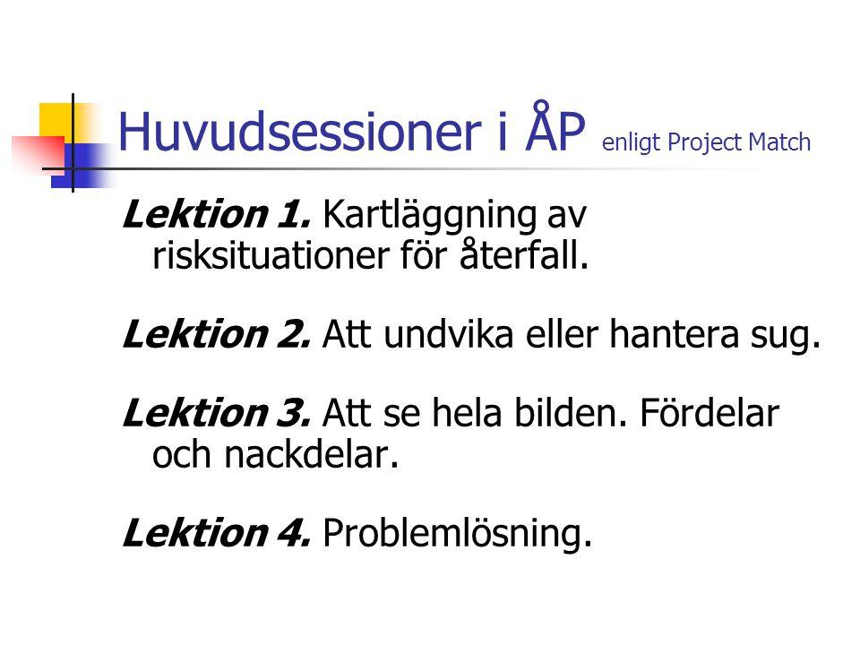 Huvudsessioner i ÅP enligt Project Match Lektion 1. Kartläggning av risksituationer för återfall. Lektion 2. Att undvika eller hantera sug. Lektion 3.