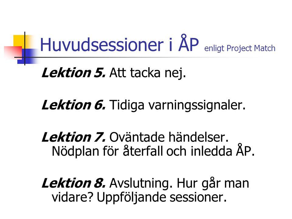 Huvudsessioner i ÅP enligt Project Match Lektion 5. Att tacka nej. Lektion 6. Tidiga varningssignaler. Lektion 7. Oväntade händelser. Nödplan för åter
