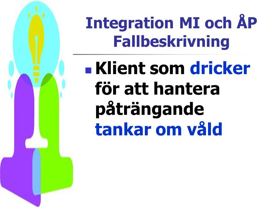 Integration MI och ÅP Fallbeskrivning  Klient som dricker för att hantera påträngande tankar om våld