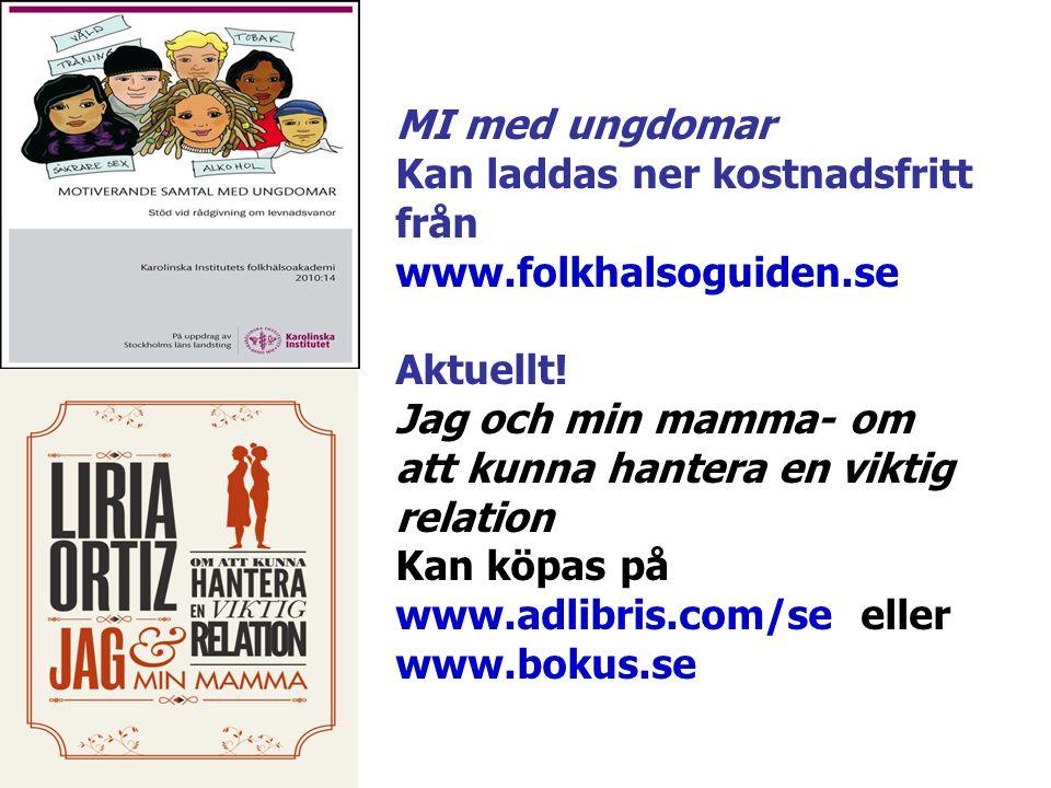 MI med ungdomar Kan laddas ner kostnadsfritt från www.folkhalsoguiden.se Aktuellt! Jag och min mamma- om att kunna hantera en viktig relation Kan köpa