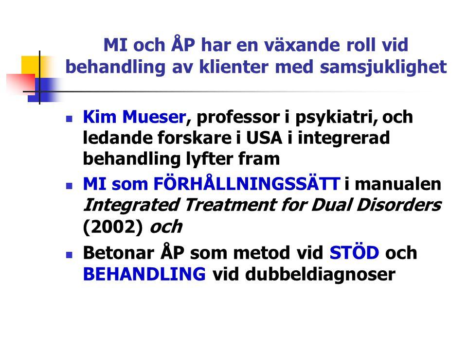 MI och ÅP har en växande roll vid behandling av klienter med samsjuklighet  Kim Mueser, professor i psykiatri, och ledande forskare i USA i integrera