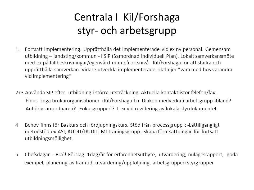 Centrala I Kil/Forshaga styr- och arbetsgrupp 1.Fortsatt implementering.