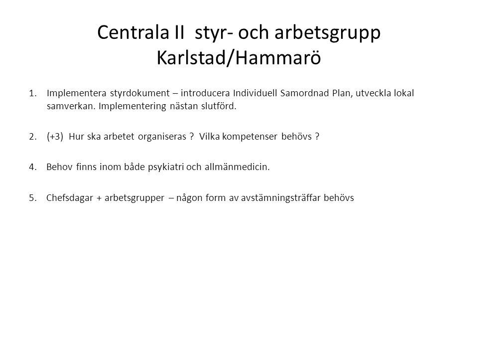 Centrala II styr- och arbetsgrupp Karlstad/Hammarö 1.Implementera styrdokument – introducera Individuell Samordnad Plan, utveckla lokal samverkan.