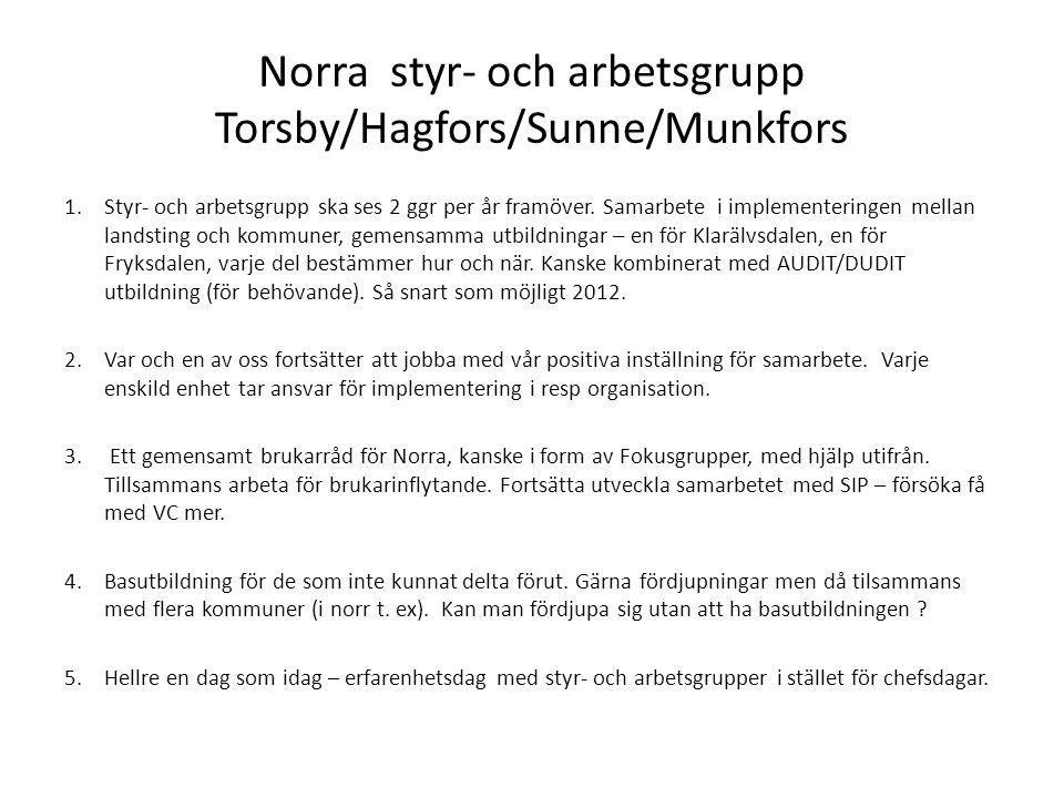 Södra styr- och arbetsgrupp Grums/Säffle 1.Fortsätta samarbetet i arbetsgrupperna, utbyta erfarenheter.