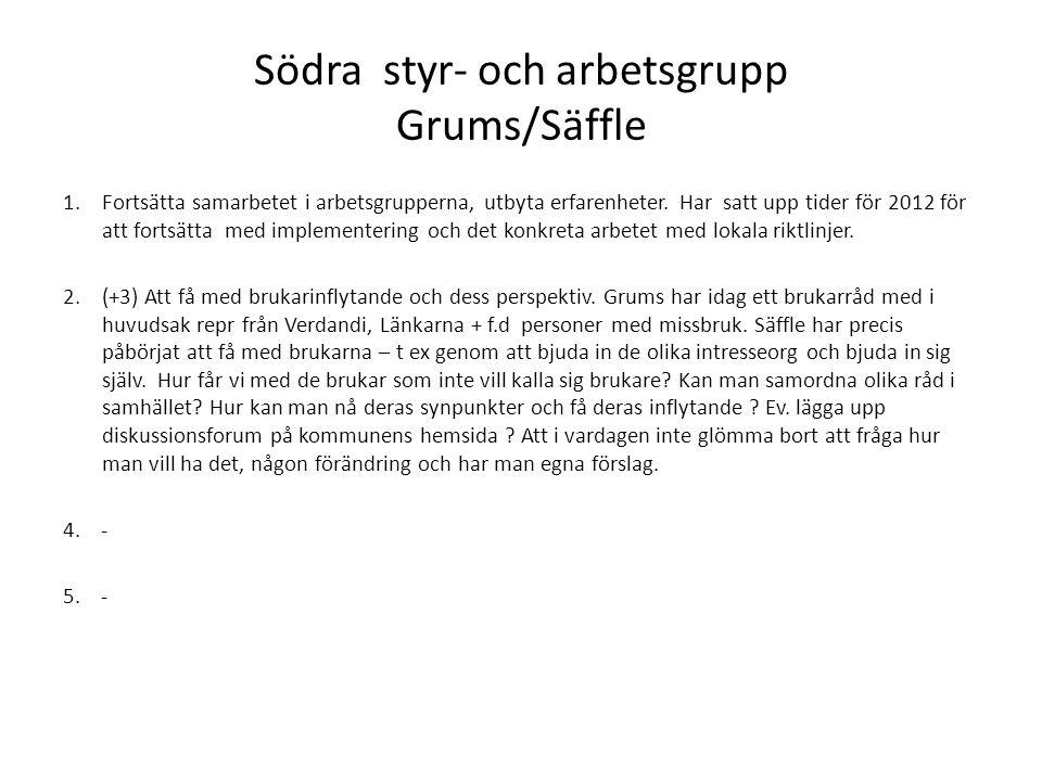 Västra styr- och arbetsgruppen Arvika/Årjäng/Eda 1.(+2+3)Återkommande informationsmöten (lokalt för all personal) med fallbeskrivningar.