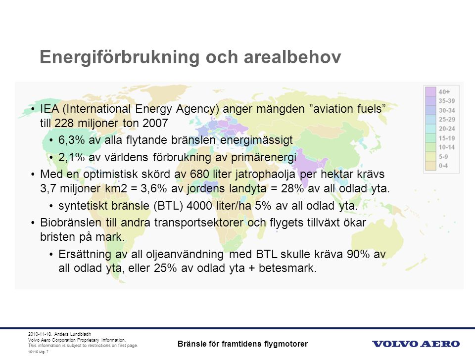 10110 Utg. 4 Volvo Aero Corporation Proprietary Information. This information is subject to restrictions on first page. 10110 Utg. 7 Energiförbrukning