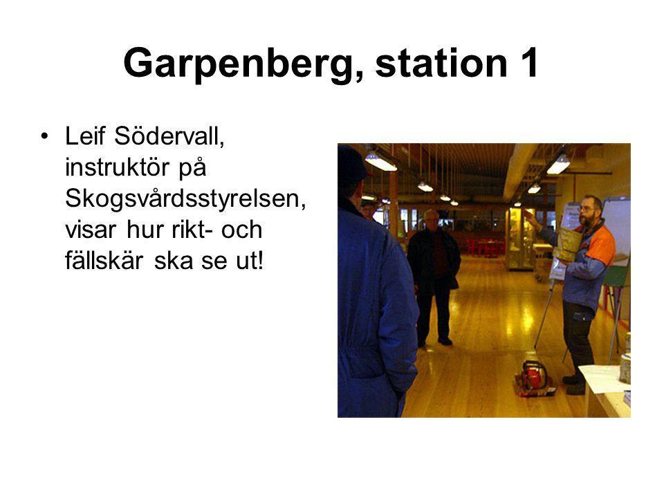 Garpenberg, station 1 •Leif Södervall, instruktör på Skogsvårdsstyrelsen, visar hur rikt- och fällskär ska se ut!