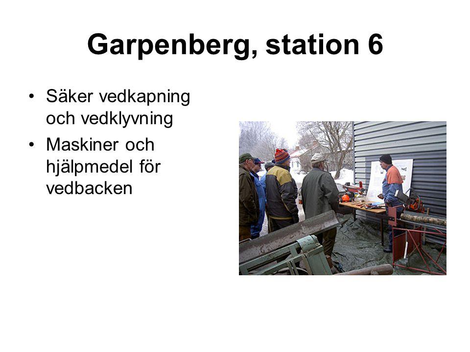 Garpenberg, station 6 •Säker vedkapning och vedklyvning •Maskiner och hjälpmedel för vedbacken