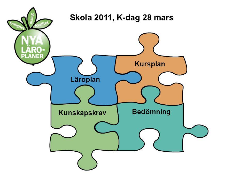 Kursplan Kunskapskrav Bedömning Läroplan Skola 2011, K-dag 28 mars