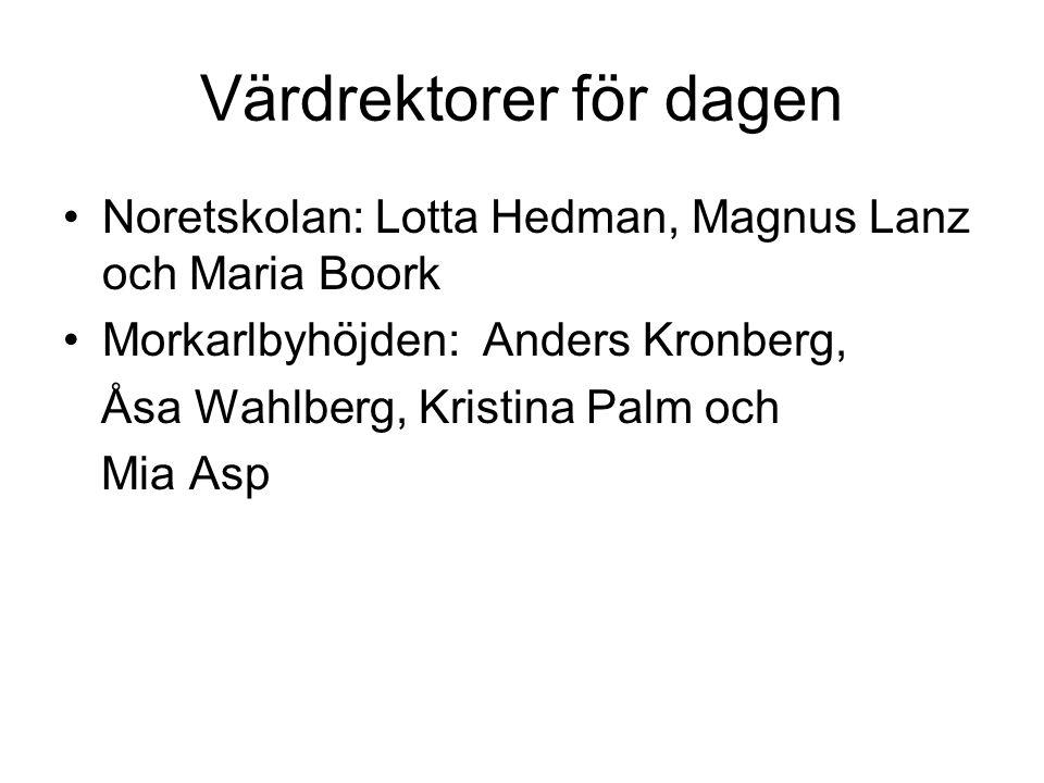 Värdrektorer för dagen •Noretskolan: Lotta Hedman, Magnus Lanz och Maria Boork •Morkarlbyhöjden: Anders Kronberg, Åsa Wahlberg, Kristina Palm och Mia Asp