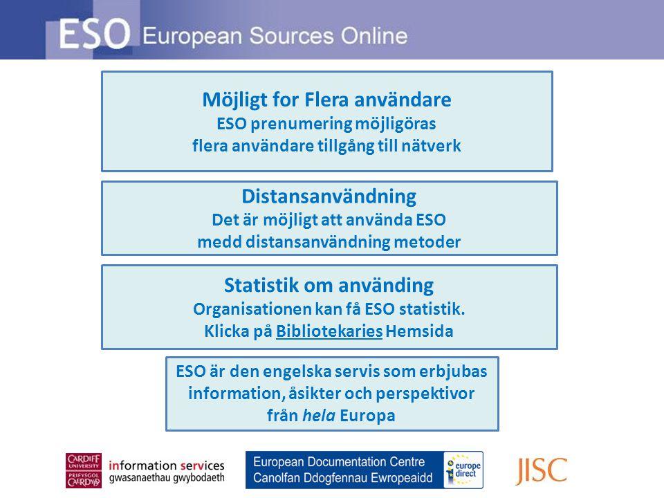 Distansanvändning Det är möjligt att använda ESO medd distansanvändning metoder Möjligt for Flera användare ESO prenumering möjligöras flera användare tillgång till nätverk Statistik om använding Organisationen kan få ESO statistik.
