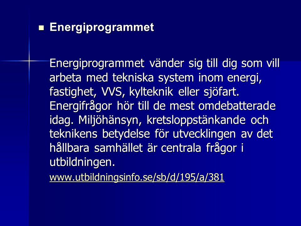  Energiprogrammet Energiprogrammet vänder sig till dig som vill arbeta med tekniska system inom energi, fastighet, VVS, kylteknik eller sjöfart. Ener