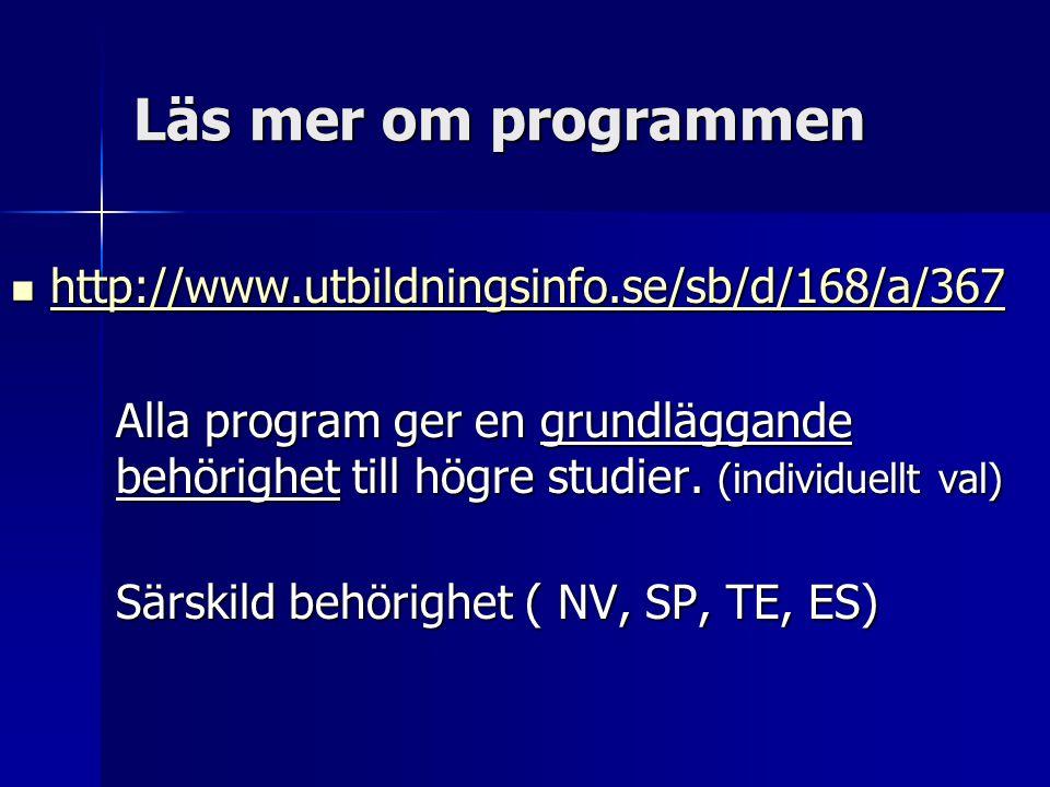 Läs mer om programmen  http://www.utbildningsinfo.se/sb/d/168/a/367 http://www.utbildningsinfo.se/sb/d/168/a/367 Alla program ger en grundläggande be