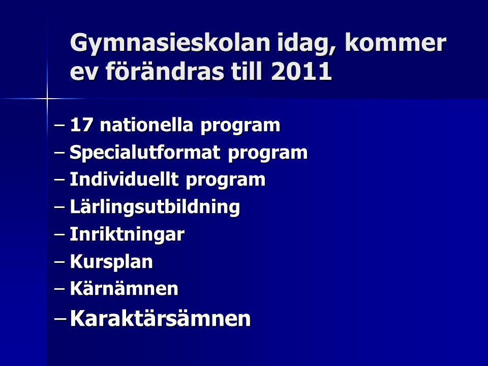 Gymnasieskolan idag, kommer ev förändras till 2011 –17 nationella program –Specialutformat program –Individuellt program –Lärlingsutbildning –Inriktni