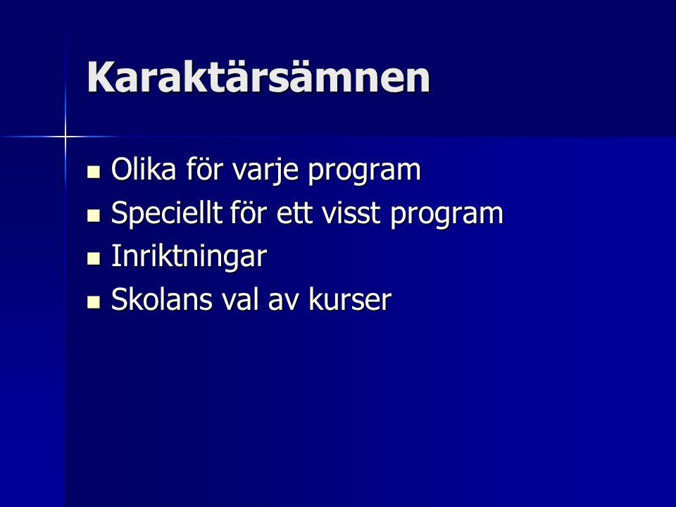 Karaktärsämnen  Olika för varje program  Speciellt för ett visst program  Inriktningar  Skolans val av kurser