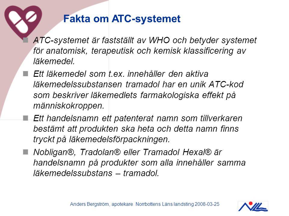 Anders Bergström, apotekare Norrbottens Läns landsting 2008-03-25  ATC-systemet är fastställt av WHO och betyder systemet för anatomisk, terapeutisk