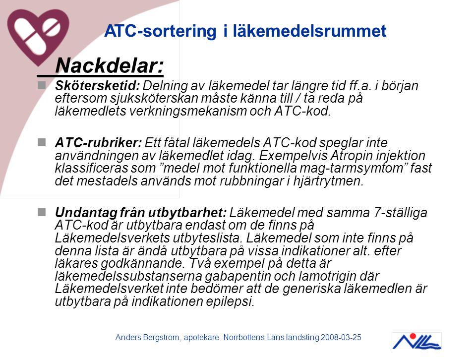 Anders Bergström, apotekare Norrbottens Läns landsting 2008-03-25 Nackdelar:  Skötersketid: Delning av läkemedel tar längre tid ff.a. i början efters