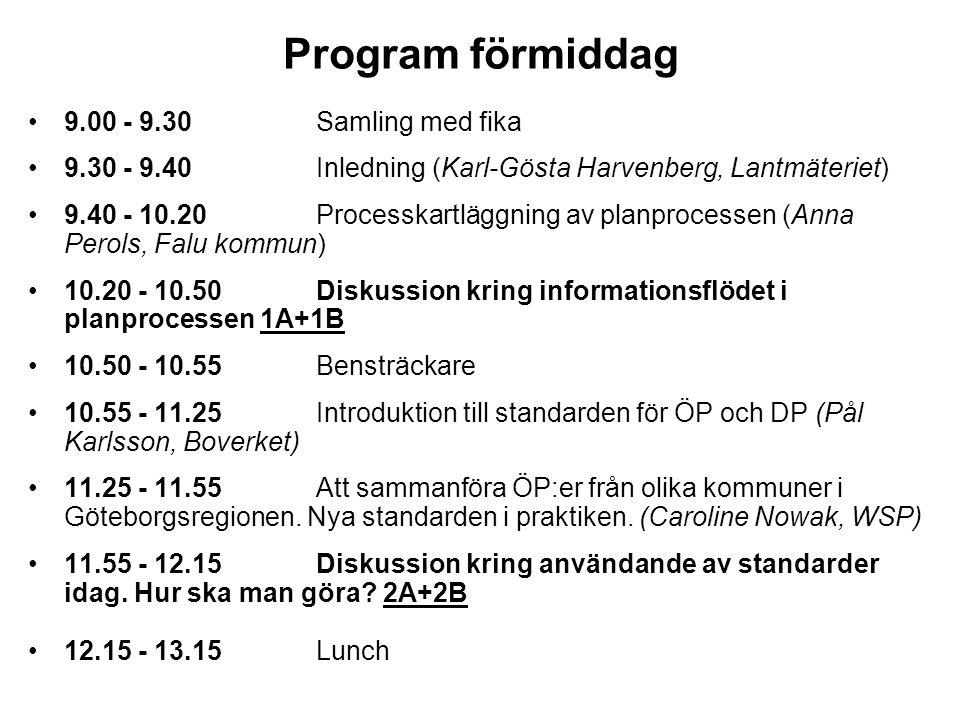 Program förmiddag •9.00 - 9.30 Samling med fika •9.30 - 9.40 Inledning (Karl-Gösta Harvenberg, Lantmäteriet) •9.40 - 10.20 Processkartläggning av plan